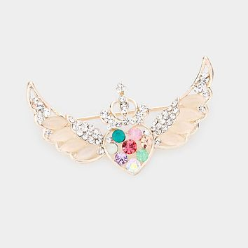 Multi Stone Heart Angel Wings Pin Brooch
