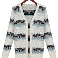 Gray Wild Print Long Sleeve V-Neck Buttoned Knitted Sweater