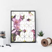 Purple flower geometric art print, clematis, floral illustration print, home wall decor, apartment decor, modern wall art, gift,