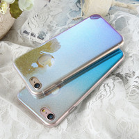 KISSCASE For iPhone 6 6S 7 Plus Case Blue Ray Soft TPU Shells Ultra Thin Glitter Powder Protective Cover For iPhone 6s 6 7 Plus