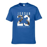 Jordan New fashion letter print people print couple top t-shirt Blue