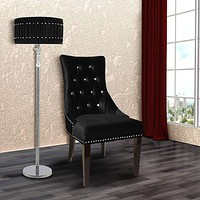 Carlyle Velvet Side Chair with Nailhead Trim, Black  By Armen Living