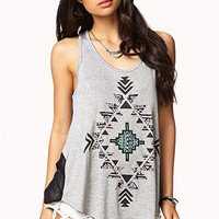 FOREVER 21 Tribal Print Tank Heather Grey/Black Large