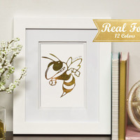 "Custom College Mascot Foil Print With Frame (Optional) - Gold Buzz ""Sting' em"" Gold Foil Print, Georgia Tech, Graduation, Framed Art"