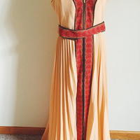 Vintage, Alfred Shaheen, Peach, Orange, Maxi Dress, Hand Printed Fabric, Daisy Accent, Boho Chic, Bohemian Dress, Size Large