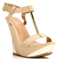 Nude T-Strap Wedge