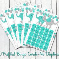 Turquoise grey elephant themed baby boy shower bingo game cards 50 different prefilled bingo sheets printable DIY game package activities