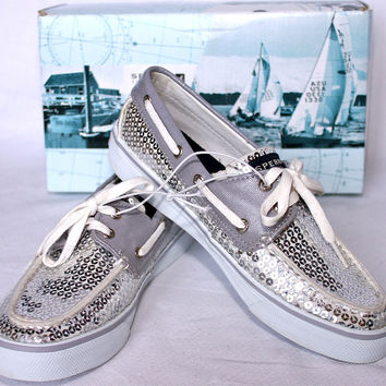 SPERRY TOP-SIDER BAHAMA SILVER SEQUINS