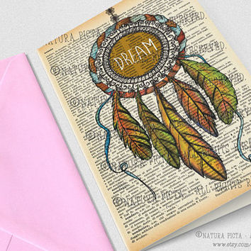 Dream Catcher Greeting Card -4x6 inches -Birthday card-Invitation card-Stationery card-design by NATURA PICTA NPGC056