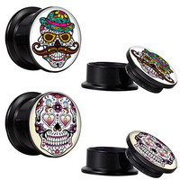 12mm Stash Plugs day of the dead Skull Sugar Skull Kit - 4 Pieces