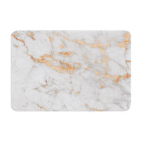 "KESS Original ""Rose Gold Flake"" White Pink Memory Foam Bath Mat"
