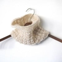 PEARL WHITE COWL scarf, light and soft, hand knit pure virgin wool and mohair, color off-white.