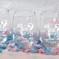 "Personalized ""Gender Reveal"" Printed Stemless Wine Glass (White Or Kraft Gift Box Available)"