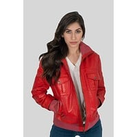 Bailey Womens Leather Bomber Jacket Red