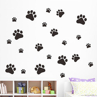 black Dog paw print door window Wall Stickers quotes Decal Sticker Art
