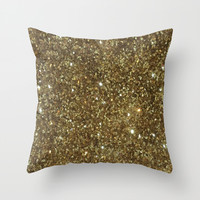 Gold Glitter Throw Pillow by NatalieBoBatalie