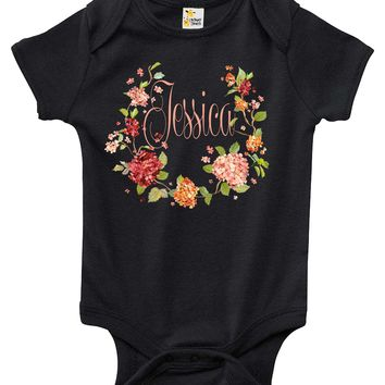 Baby Bodysuit - Custom Personalized Floral With the Name of Your Choice
