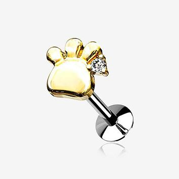 Golden Adorable Sparkle Paw Top Threadless Push-In Steel Labret