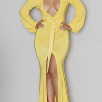 Sexy Women Dress Summer Style Yellow Plunge V Neck Front High Slit Maxi Long Sleeves Jersey Dresses on Hot Sale