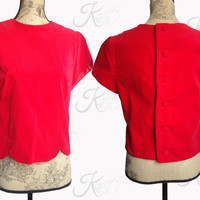 Sweet as Red Velvet Vintage 50s Top, Short Sleeved Top, Button Back, Scalloped Top, Romantic Vintage Top, Large Vintage Top, Cocktail Top