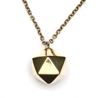 ICO NECKLACE - Hand Cast Brass Icosahedron Pendant - Brass Chain - Natural Geometry - Heathen Clothing