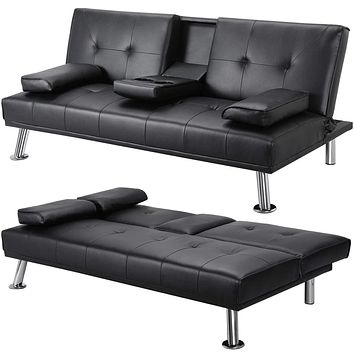 YAHEETECH Futon Sofa Bed Convertible Sofa Couch Sleeper with Armrest Home Recliner Couch Home Furniture Black