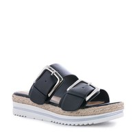 Black Evy Double Buckle Sandal