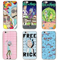Rick And Morty Phone Case Cover For iPhone 7 Plus 6S 6 Plus 5S 5 SE 8 8Plus X 10 Transparent Hard Coque Capa Case