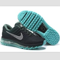 NIKE Trending Fashion Casual Sports Shoes AirMax section Black Silver hook Green soles