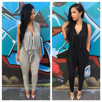 V-Neck Sleeveless Harem Jumpsuit with Pocket