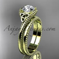 """14kt yellow gold diamond celtic trinity knot wedding ring, engagement set with a """"Forever Brilliant"""" Moissanite center stone CT7322S"""
