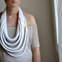 White knitted okapi big necklaces, big statement necklace, fashion Paris, France
