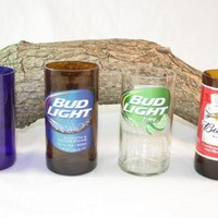 Drinking Glasses Upcycled from Budweiser Beer Bottles, Unique Glassware, ONE Glass
