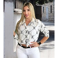 LV Louis Vuitton Newest Popular Women Print Long Sleeve Lapel Shirt Top