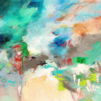 """Abstract Landscape Painting Large Canvas 40x30 """"A Week in Montana"""""""