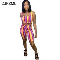 Rainbow Striped Sexy Two Piece Set Summer Clothes For Women Square Collar Sleeveless Crop  Top And Biker Shorts 2Pcs Club Outfit