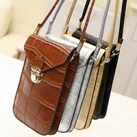 1Pc Purse Cell Phone Case Pouch Mini Shoulder Bag Square Crocodile Pattern Bag