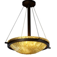 Justice Design Group GLA-9691-35-AMBR-MBLK Veneto Luce Matte Black Three-Light 18-Inch Round Bowl Pendant with Amber Glass and Ring - (In Matte Black)
