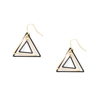 Black and Gold Wire Triple Triangle Drop Earrings