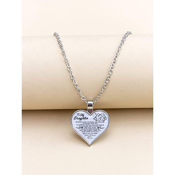Slogan Graphic Heart Charm Necklace