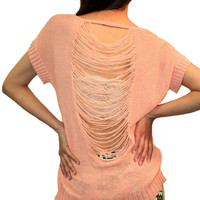 Distressed Back Knit Top