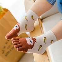 Year Kawaii Children Socks Cotton Animal Boys Girls Socks Stuff Toe Socks for Kids Five Finger Sock 3-7T/7-12T