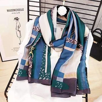 Spring Summer Women Temperament Fashion Double-Sided Leopard Print Spell Color Stripe Silk Scarf Shawl