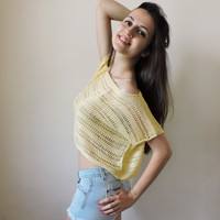 FREE SHIPPING Pure cotton crop top Yellow knit blouse Boho lace top Knit womens cropped tank Spring Summer tank Short sleeve cropped blouse