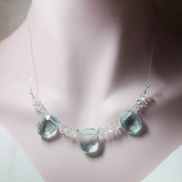 Elegant choker glass necklace with herkimer diamond beads and square green glass with sterling silver chain for your party and gift for her