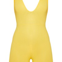 Yellow Ribbed Plunge Sleeveless Unitard