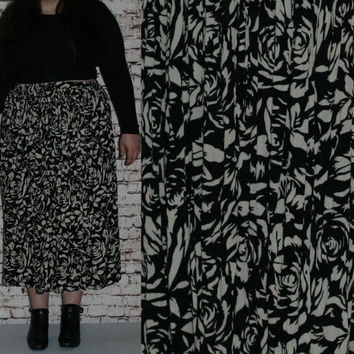 90s Plus Size High Wasit Crinkle Broomstick Skirt Black Ivory Floral Rayon Boho Festival Hipster Maxi Midi 80s 70s 1X 2X 3X Witchy India