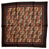 Fendi Silk Square Scarf FF Brown - Fendi Women