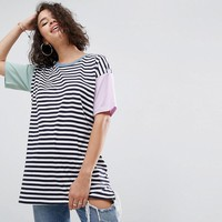 ASOS Top in Oversized Cutabout Color Block Stripe at asos.com
