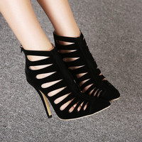 2015 New Style Pointed Toe Sex Black HIgh Heels Women Pumps with Zipper Cut-Outs Gladiator Brand Ladies Woman Shoes Hot